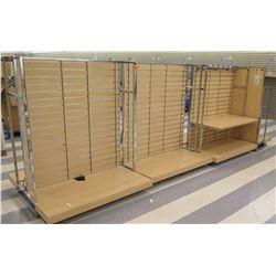 "Multiple Slatwall Panel Wood & Chrome Adjustable Display Shelf Racks 184""L x 50.5""D x 62.5""H"