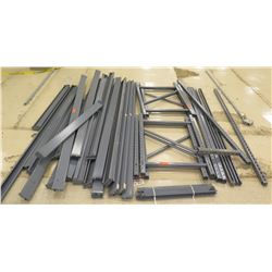 "Multiple Metal Shelf Rack Parts, Unassembled, Cross Beams: approx 95""L; Uprights: 42""L; Decking: 85"""
