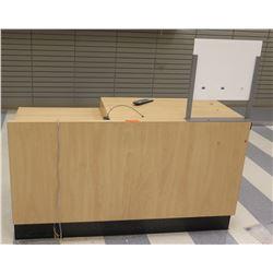 "Wooden Shelf w/ Headboard & 6 Cubicles Below 60""L x 24""D x 33.5""H"