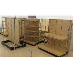 Qty 10 Multiple Slatwall Panel Wood & Chrome Adjustable Display Shelf Racks