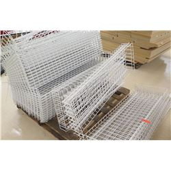 "Pallet of Multiple White Metal Wire Rack Shelving 48""L x 19""W, 48""L x 25""W, etc."
