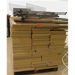 "Pallet of Assorted Size Wood Shelf Panels, Wire Racks, Rails, etc; Most is 48""L x 15""W"