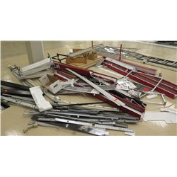 Multiple Metal Rack Parts, Rails, Hangers, Sign Holders, etc