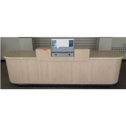 "Long Wooden Customer Service Cabinet w/ Cubicles Below 120""L x 26""D x 41.5""H"