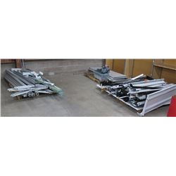 "Qty 3 Pallets Misc Shelf Support Panels, Rails, Brackets, etc, Misc. sizes; around 45""L for beams."