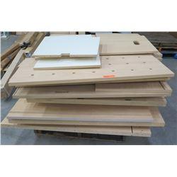 Pallet Multiple Misc Wood & Pressboard Shelf Panels w/ Cabinet Parts