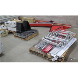 Multiple Pallets Misc Shelf & Wire Rack Parts, Black Display Boards, etc