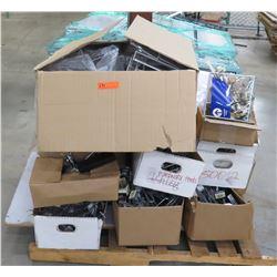 Multiple Boxes Misc Metal Rack Parts, Rails, Sign Holders, etc