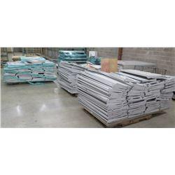 Qty 12 Pallets Metal Shelf Panels, Dividers, Rails & Parts