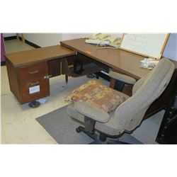 """L"" Shaped Desk & Chair, 3 File Cabinets & 2 Door Cabinet; Contents of Room"