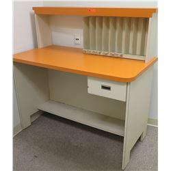 "Orange & White Desk w/ 1 Drawer, Hutch & Sorter 54""L x 28""D x 54""H"