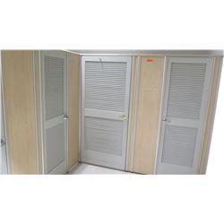 Qty 4 Fitting Rooms w/ Locking Doors, Inside Bench & Corner Shelf
