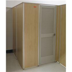 Qty 2 Fitting Rooms w/ Locking Doors, Inside Bench & Corner Shelf