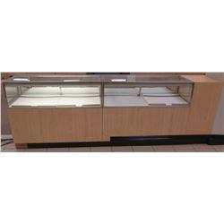 "2 Section Wood, Metal & Glass Display Units w/ Cabinets, No Keys, 112""L x 20""D x 38.5""H"