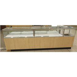 "3 Section Wood, Metal & Glass Display Units w/ Cabinets, No Keys, 116""L x 20""D x 38.5""H"
