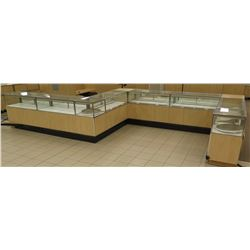 10+ Section Wood, Metal and Glass Display Units w/ Cabinets, No Keys