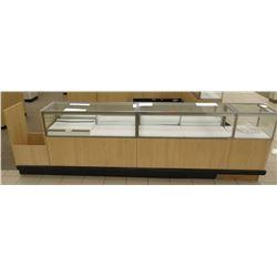 "4 Section Wood, Metal & Glass Display Units w/ Cabinets, No Keys 116""L x 20""D x 38""H"