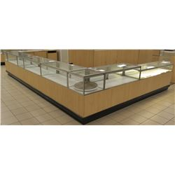 6+ Section Wood, Metal and Glass Display Units w/ Cabinets, No Keys