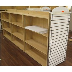 "Long Wooden 9 Cubicle Display Shelf Unit w/ Slatwall End 145""L x 29""D x 53""H"