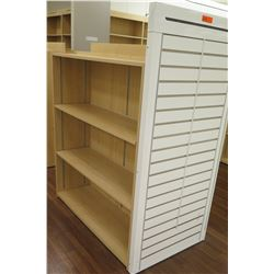 "Wooden 3 Shelf Display Unit w/ Slatwall End 50""L x 29""D x 53""H"