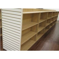 "Long Wooden 15 Cubicle Display Shelf Unit w/ Slatwall End 288""L x 29""D x 53""H"