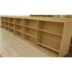 "Long Wooden 18 Cubicle Display Shelf Unit 286""L x 29""D x 53""H"