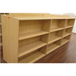 "Long Wooden 9 Cubicle Display Shelf Unit 145""L x 29""D x 53""H"