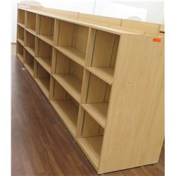 "Long Wooden 15 Cubicle Display Shelf Unit 216""L x 29""D x 53""H"