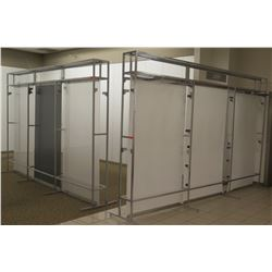 "Qty 2 White & Metal 3 Section Room Dividers 149""L x 12""D x 96.5""H"