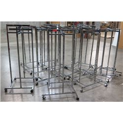 "Qty 10 Misc Metal Chrome Adjustable Rolling Racks, all approx. 53""H"