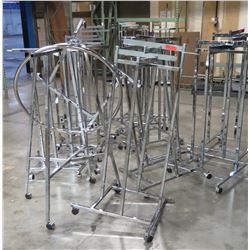 "Qty 15 Misc Metal Chrome Adjustable Rolling Racks, all approx. 53""H"