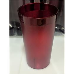 12OZ RED PLASTIC TUMBLERS - LOT OF 36