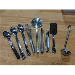 STAINLESS KITCHEN TOOLS SET - LOT OF 9 PIECES