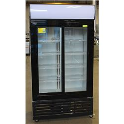 NEW 1000L UPRIGHT DOUBLE SLIDING GLASS DOOR COOLER