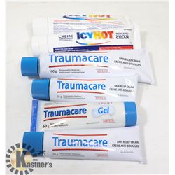 BAG OF TRAUMACARE PAIN RELIEF CREAM AND ICY HOT