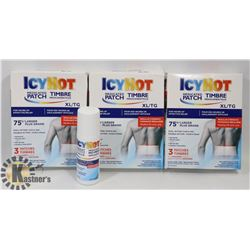 BAG OF ICY HOT MEDICATED PATCHES AND SPRAY