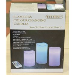 3PK REMOTE COLOR CHANGING CANDLES.