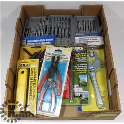 FLAT OF ASSORTED TOOLS INCLUDING DRILL BITS,
