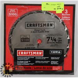 "NEW CRAFTSMAN 7-1/4"" 3 BLADE SET"