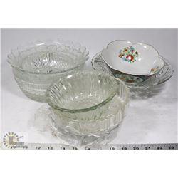 VARIOUS GLASS SERVING BOWLS