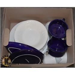 BOX OF BLUE AND WHITE DISHES