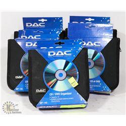 LOT OF 5 DAC CD/DVD ORGANIZERS 32 SLOT CAPACITY.