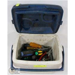 COLEMAN LUNCHBOX WITH TOOLS INCL WRENCHES, PLIERS