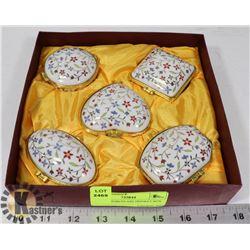 SET OF 5 PORCELAIN TRINKET BOX