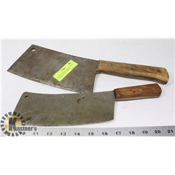 2 LAMPLAUGH VINTAGE CUTLERY CLEAVER HAND FORGED