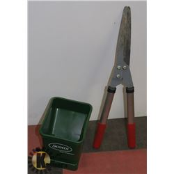 SCOTTS HAND FERTILIZER SPREADER AND HEDGE SHEARS