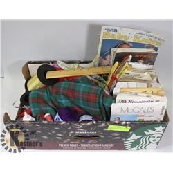 ASSORTED SEWING, KNITTING SUPPLIES