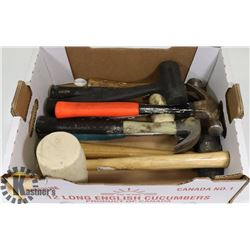 FLAT OF ASSORTED HAMMERS AND MALLETS