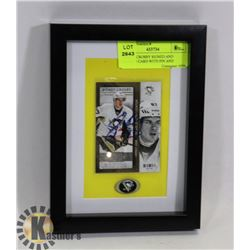 SIDNEY CROSBY SIGNED AND FRAMED CARD WITH PIN AND