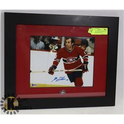 HABS: GUY LAFLEUR SIGNED AND FRAMED WITH PIN  AND